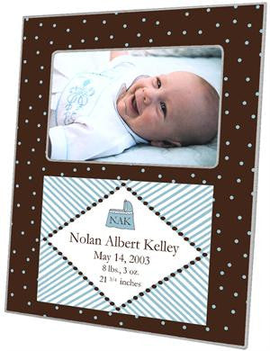 Brown & Blue Dots Picture Frame