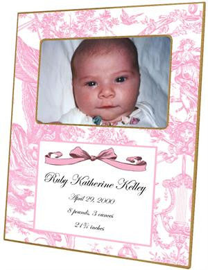 Pink Toile Birth Announcement Picture Frame