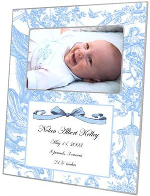 Blue Toile Birth Announcement Picture Frame