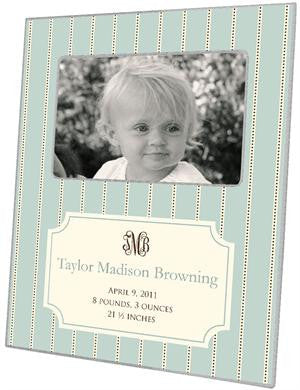 Avery Aqua Birth Announcement Picture Frame