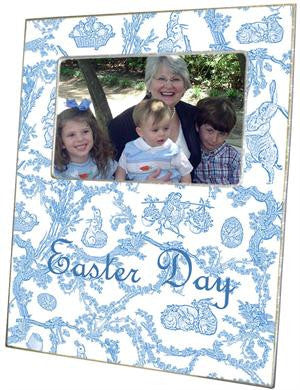 Easter Bunny Toile Blue Picture Frame