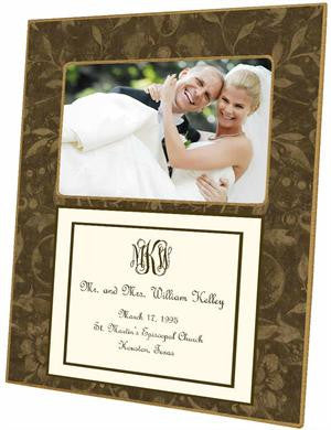Brown Damask with Inset Picture Frame
