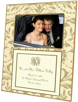Creme & Gold Damask with Inset Picture Frame