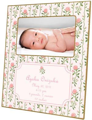 Rose Stripe Birth Announcement Picture Frame