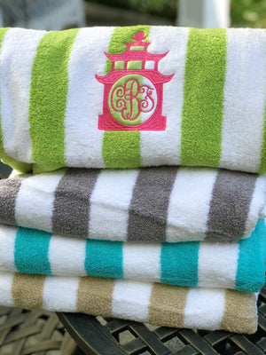 Monogrammed Hamptons Cabana Stripe Beach Towel
