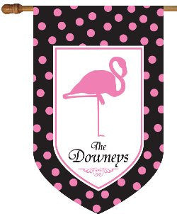 Monogrammed Flamingo Black & Pink House Flag