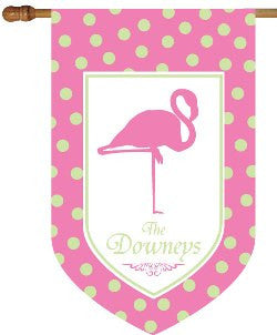 Monogrammed Flamingo Pink & Green House Flag