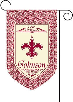 Monogrammed Burgundy Fleur De Lis with Border Garden Flag