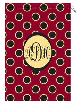 Monogrammed Garnet & Gold Polka Dot  Laundry Bag