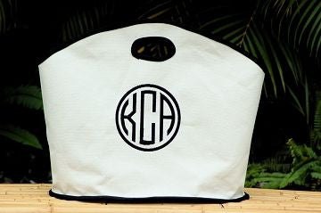 Monogrammed Black Trim Canvas GG Tote