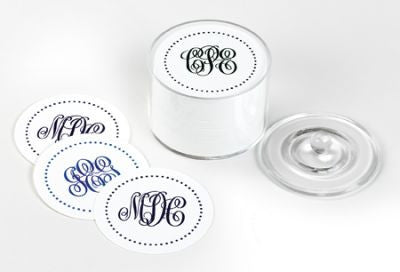 Polka Dot Monogram Coasters