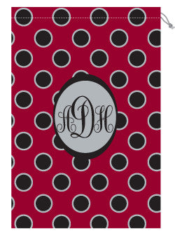 Monogrammed Garnet & Black Polka Dot Laundry Bag