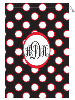 Monogrammed Red & Black Polka Dot Laundry Bag