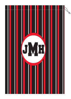 Monogrammed Red & Black Striped Laundry Bag