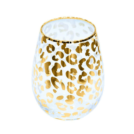 Gold Leopard Print Stemless Wine Glass