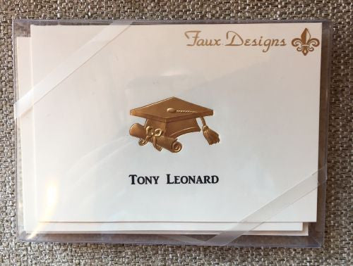 Personalized Gold Graduation Cap Folded Notes