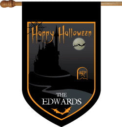 Monogrammed Happy Halloween House Flag