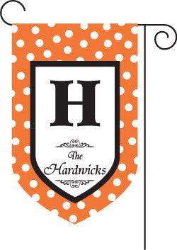 Monogrammed Halloween Orange Garden Flag