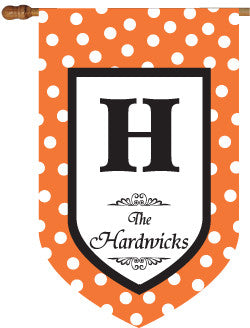 Monogrammed Halloween Orange House Flag