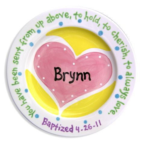 Personalized Heart Baptism Plate