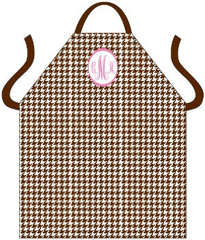 Monogrammed Houndstooth Brown Apron