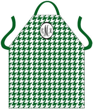 Monogrammed Houndstooth Green Apron