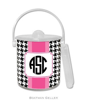 Alex Houndstooth Black Monogrammed Lucite Ice Bucket
