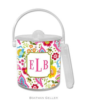 Bright Floral Lucite Ice Bucket