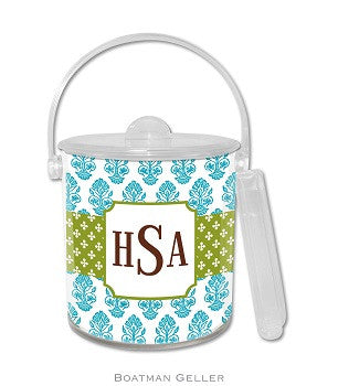Betti Teal Monogrammed Lucite Ice Bucket