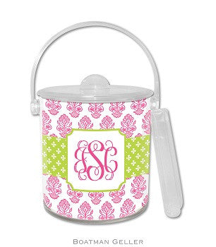 Betti Pink Monogrammed Lucite Ice Bucket