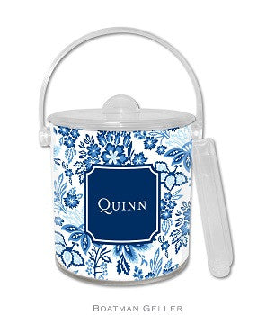 Classic Floral Blue Monogrammed Lucite Ice Bucket