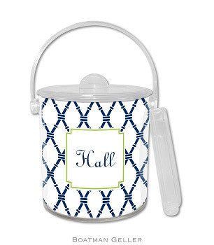 Bamboo Navy & Green Monogrammed Lucite Ice Bucket