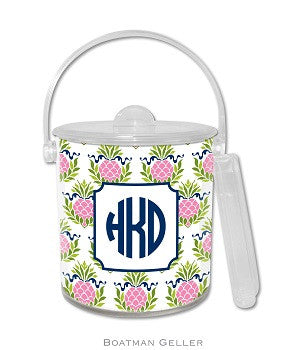 Pineapple Repeat Pink Monogrammed Lucite Ice Bucket