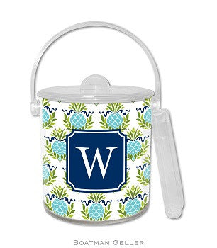 Pineapple Repeat Teal Monogrammed Lucite Ice Bucket