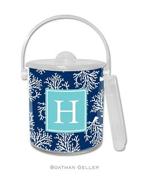 Coral Repeat Navy Monogrammed Lucite Ice Bucket