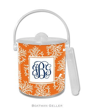 Coral Repeat Monogrammed Lucite Ice Bucket