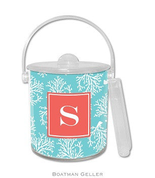 Coral Repeat Teal Monogrammed Lucite Ice Bucket