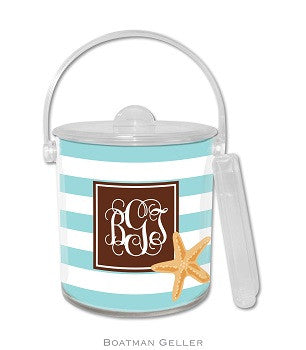 Stripe Starfish Monogrammed Lucite Ice Bucket