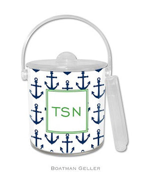 Anchor Navy Monogrammed Lucite Ice Bucket
