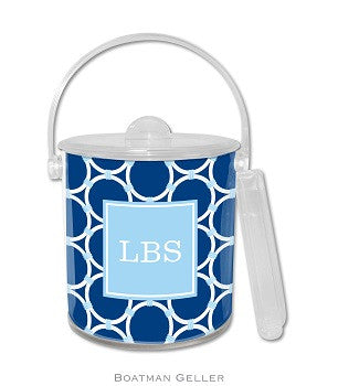 Bamboo Rings Navy Monogrammed Lucite Ice Bucket