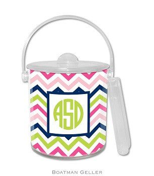 Chevron Pink, Navy, & Lime Monogrammed Lucite Ice Bucket
