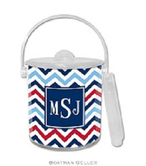 Chevron Blue & Red Monogrammed Lucite Ice Bucket