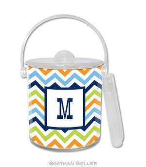 Chevron Blue, Orange, & Lime Monogrammed Lucite Ice Bucket