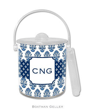 Betti Navy Monogrammed Lucite Ice Bucket