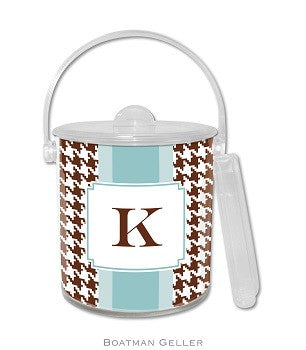 Alex Houndstooth Chocolate Monogrammed Lucite Ice Bucket