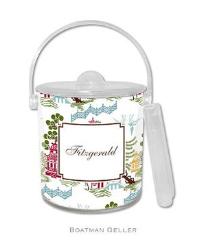 Chinoiserie Autumn Monogrammed Lucite Ice Bucket