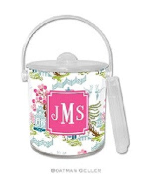 Chinoiserie Spring Monogrammed Lucite Ice Bucket
