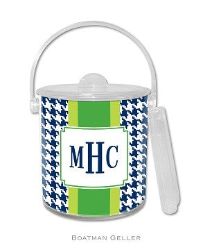 Alex Houndstooth Navy Monogrammed Lucite Ice Bucket