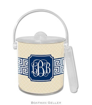 Greek Key Band Navy Monogrammed Lucite Ice Bucket
