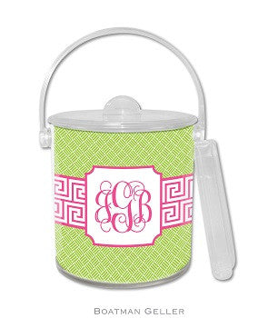 Greek Key Band Pink Monogrammed Lucite Ice Bucket